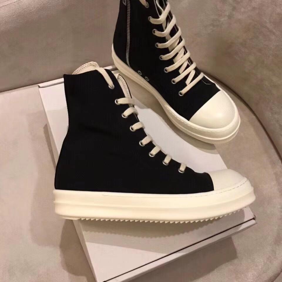 Moda Siyah Kısa Bayanlar Ayak Bileği Boot Yuvarlak Ayak Tuval Kalın Alt Fermuar Dantel-up Tasarımcı Martin Çizmeleri Erkekler ve Kadınlar Için Ayakkabı
