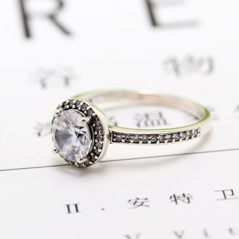 2020 Новый Оригинальный Серебряный Цвет Круглый Сфарвер Halo Кольцо для Женщин Резовизуемая Свадебная Обручальная Пан Кольца Dropshipping1