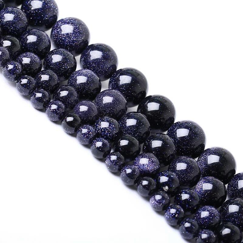 1strand الكثير 4 6 8 10 12 ملليمتر الأزرق الرمال الأزرق سحر جولة الخرز فضفاض فاصل الخرزة للمجوهرات صنع diy h jllnci