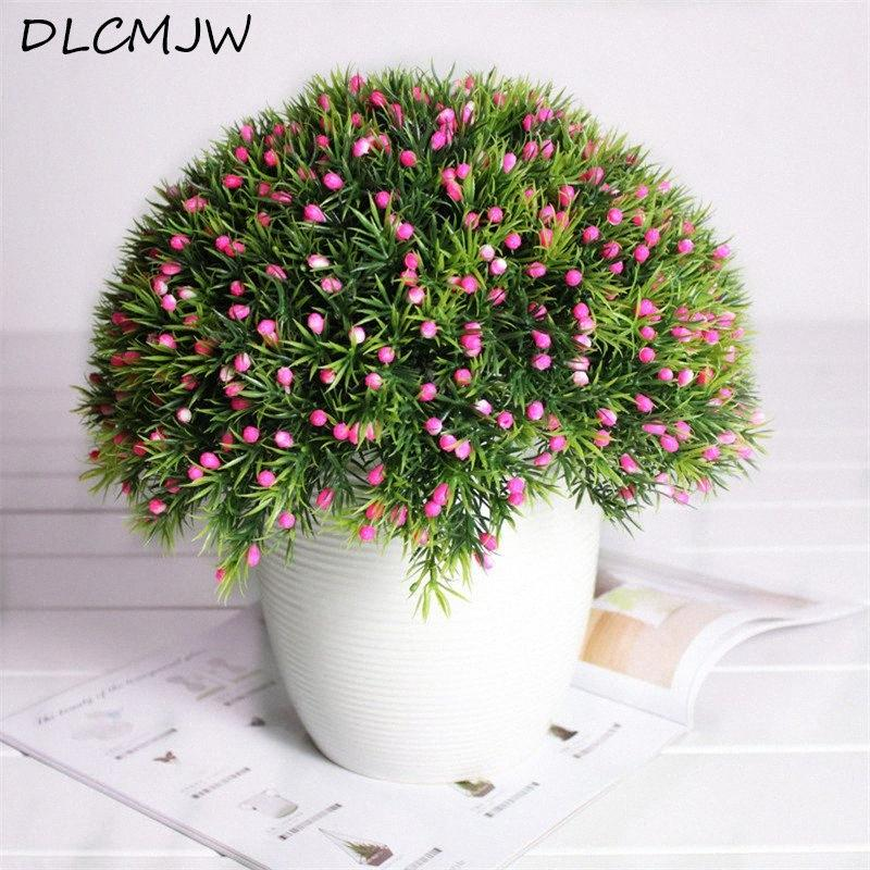 Artificial flower Fake Plant Plastic Flowers Simulation Plant Indoor Green Fake Flower decor For Wedding Home Garden Decor MKf5#