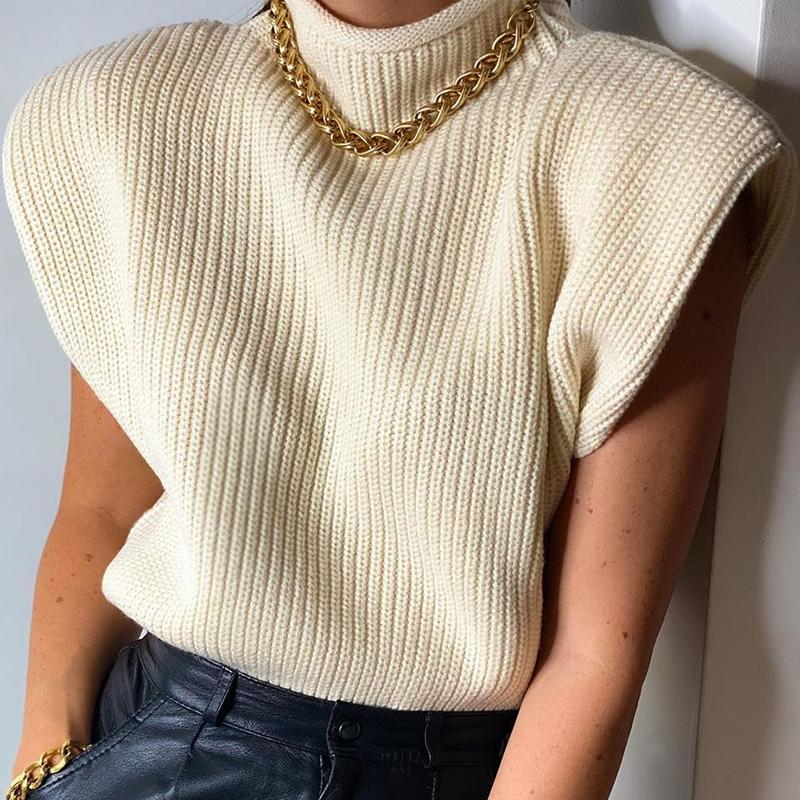 Evfer Herbst Mode Damen Za Schulter Pad Gelb Gestrickte Pullover Pullover Frauen Casual Sleeveless Rollsteck Strickwaren Tops