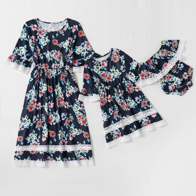 Trajes de coincidencia familiar Flower Madre Madre Vestidos de manga corta Mamá Mami y yo Ropa Mira mamá Bebé Mujeres Niñas Dress Outfits1