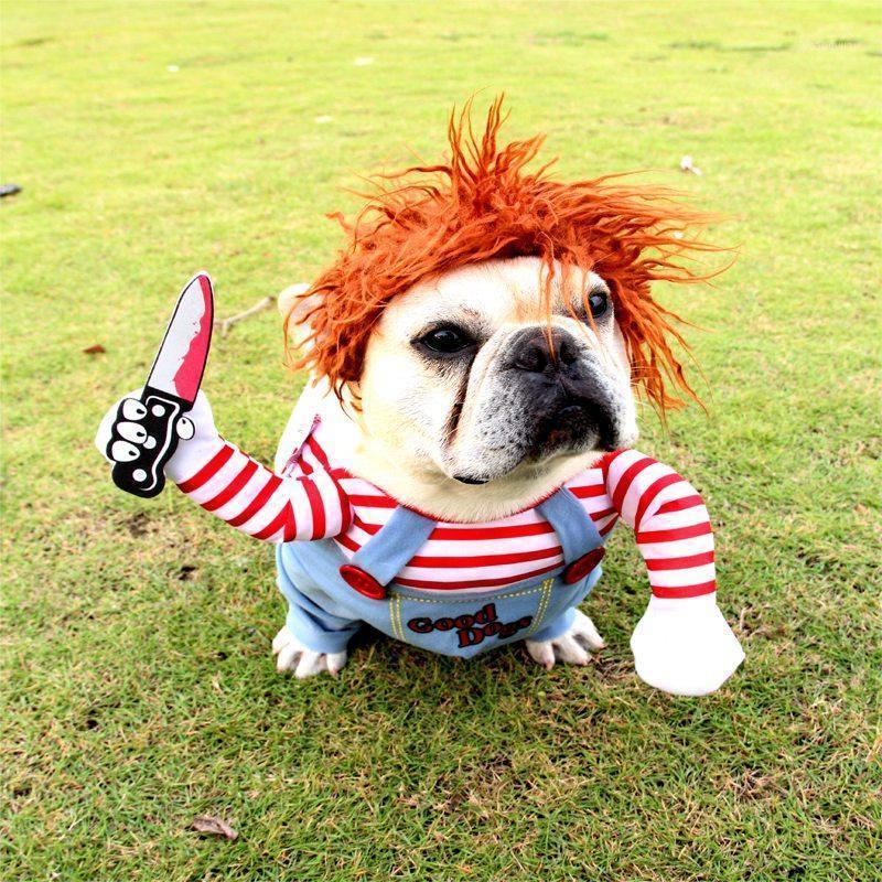 Perro para mascotas Ropa de Halloween Perros con un cuchillo Halloween Traje de Navidad Novelty Funny Pet Cat Fiesta Cosplay Apparel Ropa 1