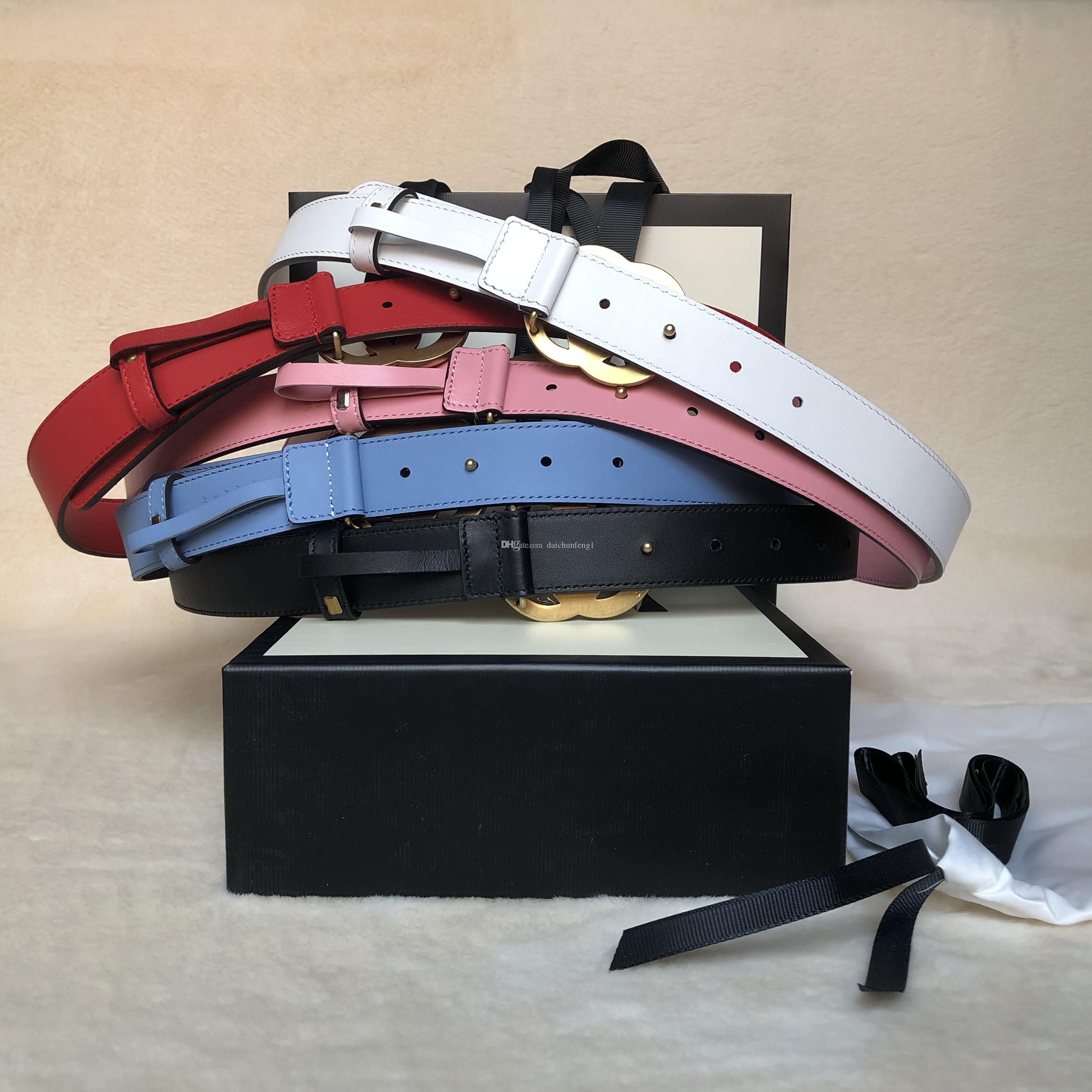 Newest best quality macaroon colors 3.0 cm widths genuine leather women belt with box women waistband women gold/silver/pearl buckle belts