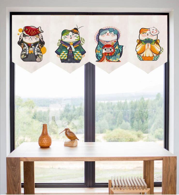 New Giapponese Fortune Cat Tende Cortinas Tenda Pennant Window Personalizza Partition Home Toilette Ristorante Cucina Door1 WFHPB