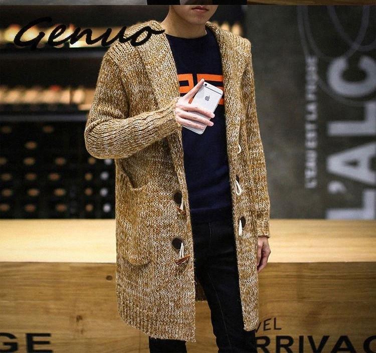 Automne Hiver 2019 Nouveau long Sweatercoat hommes Couleur unie à manches longues Pull à capuche Manteau d'extérieur Hommes Casual Cardigan Bd4D #