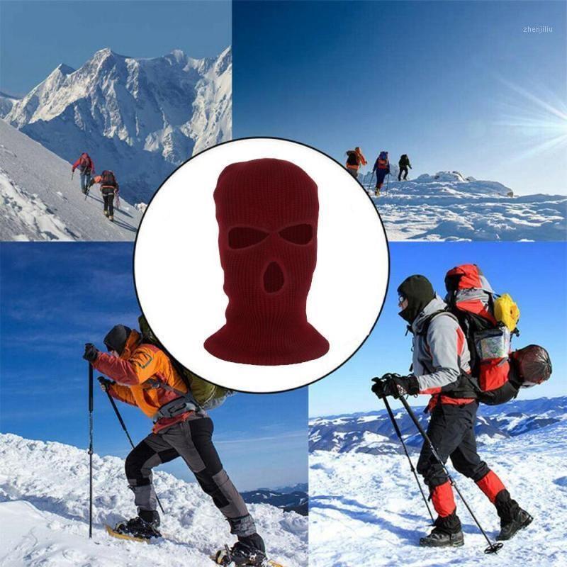 Radkappen Masken Winter Strick Ski Maske 3-Loch Balaclava Gestrickte volle Gesichtsabdeckung Beanie Hut Erwachsene Warme Outdoor Sports1