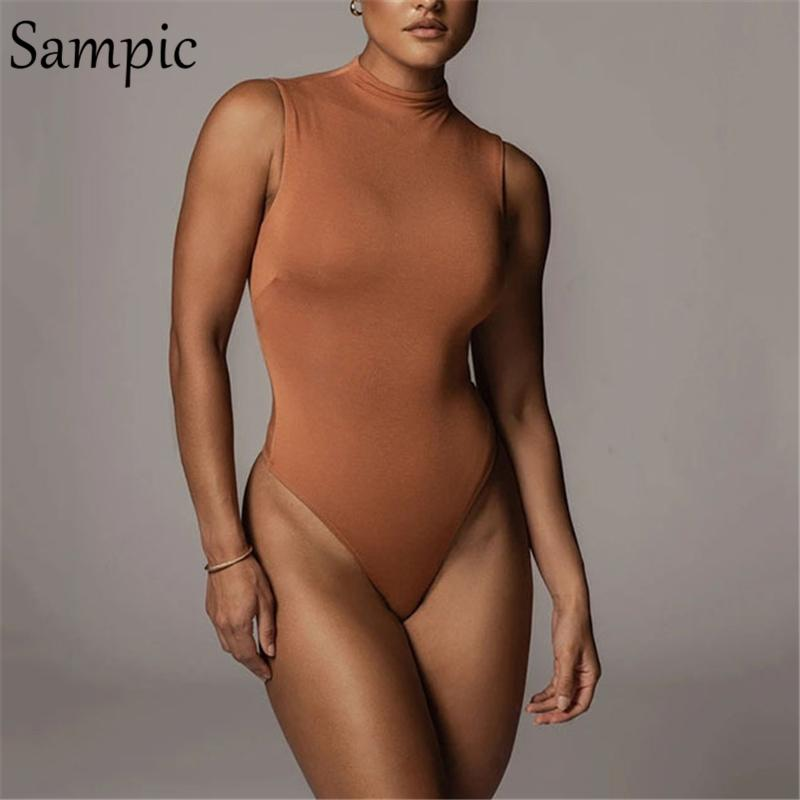 Black Sem mangas Off Ombro Turtleneck Mulheres Bodysuit Outono Sexy 2020 Macacões Curtos Básico Básico Body Body Tops