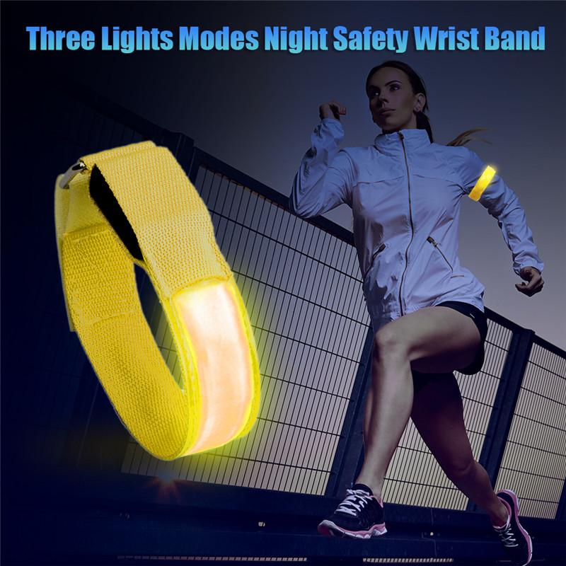 Banda de luz reflexivo LED luz de braço de braço cinta cinta para a noite correndo ciclismo rodando luz LED