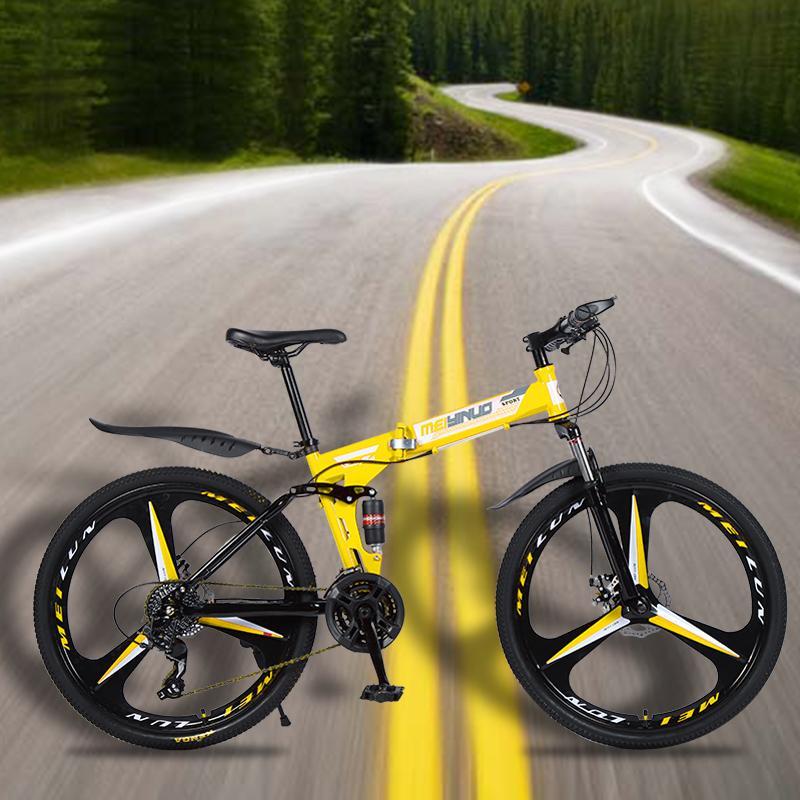 Bergdämpfungs Fahrrad 26-Zoll-Scheibenbremse 21-Gang-Klapprad Erwachsene Fahrrad Mountainbike Schneemobil fre Klapp