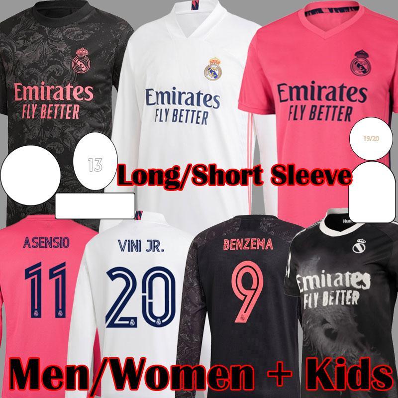 2020 2021 Yeni Gerçek Madrid Uzun Kollu İnsan Yarışı Toplamak Futbol Formaları Sergio Ramos Asensio Marcelo Valverde Kadınlar Futbol Gömlek Çocuk Kitleri