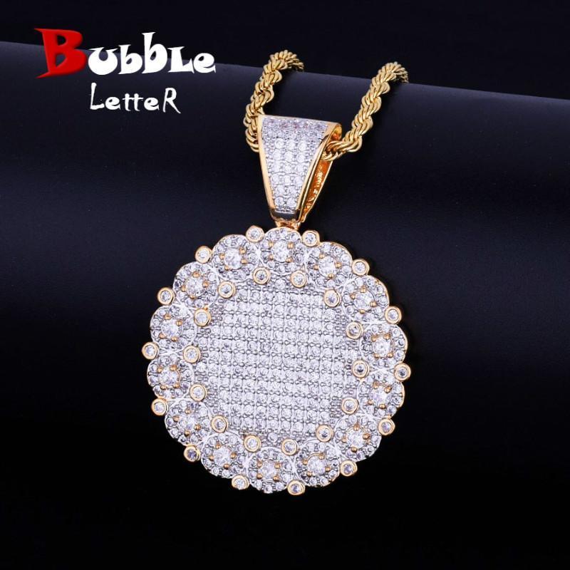 Yuvarlak Küme Medallion Altın Kolye Kolye Zinciri Charm Gümüş Renk Hediye için Kübik Zirkon Erkekler Kadınlar Hip hop Takı Bling