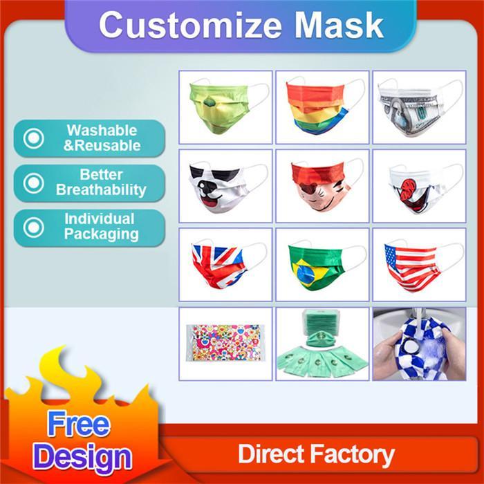 2021 Logotipo personalizado Máscaras de cara Diseñadores de moda Adultos Ciclismo Anti-polvo al aire libre Mascarilla a prueba de viento Lavable Reutilizable Confort Unisex Máscara