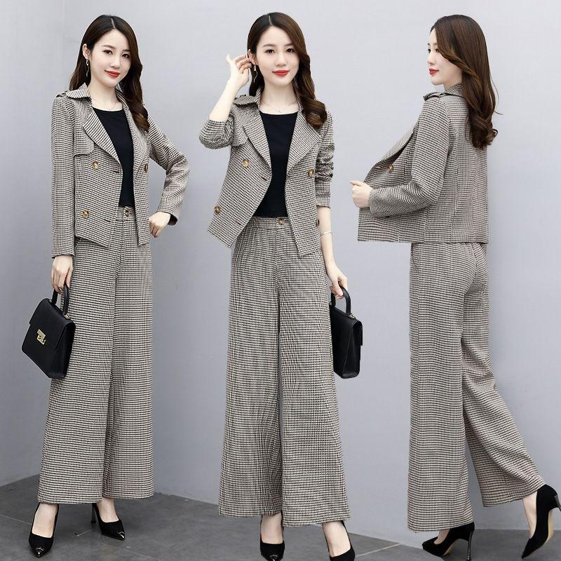 4bxUT Qianniaoge костюм для женщин моды брюки ноги брюки осени 2020 нового pantsSuit темперамент профессионального изнашивания широкой ноги Широких два куска набора в