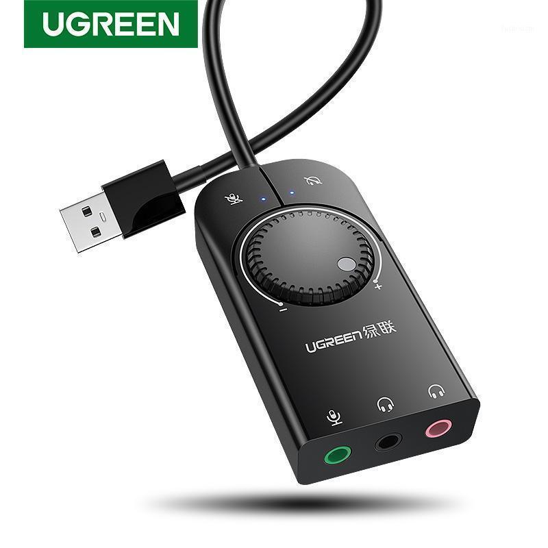 UGEEEN SOUND CARD USB AUDIO интерфейс внешний 3,5 мм микрофон аудио адаптер звуковой карты для ноутбука PS4 гарнитура USB звуковая карта1