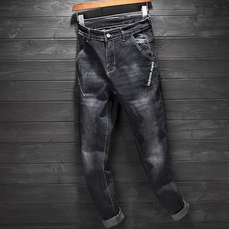 Hommes Jeans 2020 Printemps Noir Coton strench droite Slim Fit Pantalon classique Pantalon Casual Modis Denim Jeans Hommes Streetwear