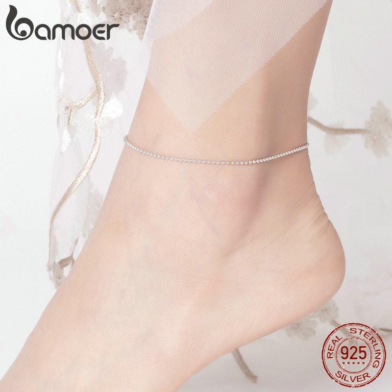 BAMOER Hot Простые продажи Essential бисера Link ножные 925 Серебряный браслет для ног серебряные украшения женских ног Chain SCT002
