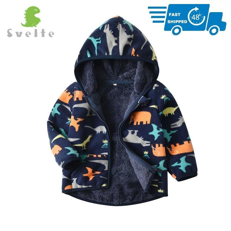 Svelte для 2-7 лет Малыш и малыш Мальчик подкладки меховой флис толстовки куртки пушистые толстовки мальчик одежда напечатанные пальто на зиму 201127