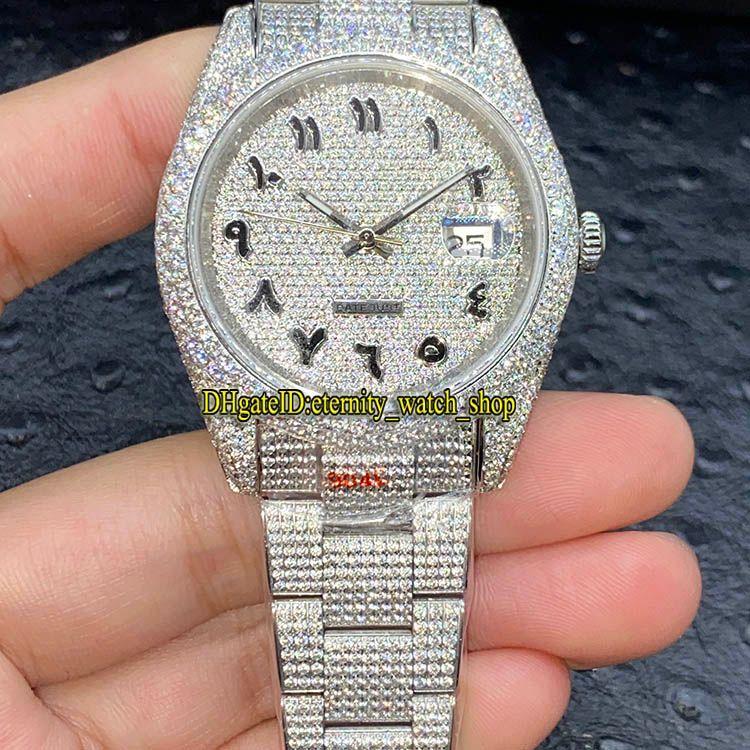 Eternity New V3 Обновление версии 126334 126234 116244 Арабские бриллианты, циферблат ETA A2824 Автоматические мужские часы 904L Steel Alame Almond Out Out Full Case