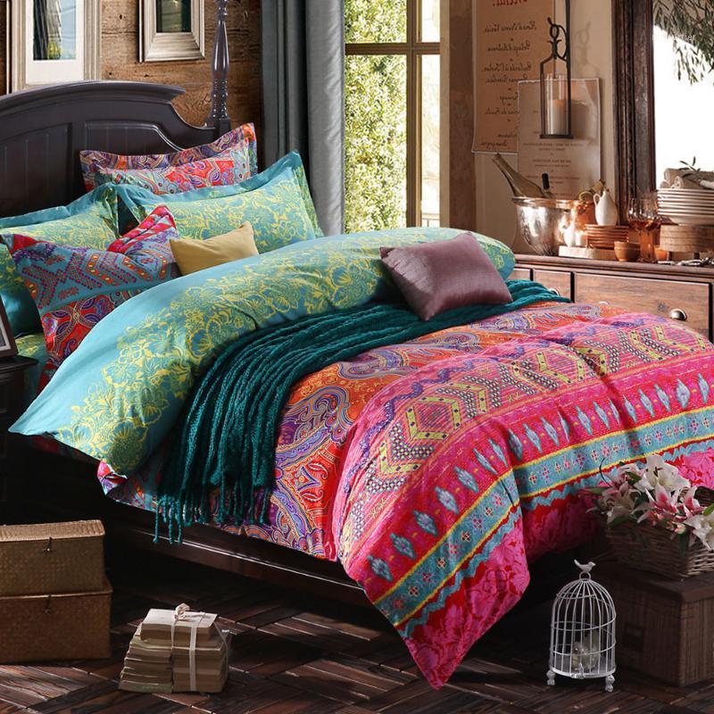 PRAJNA estilo étnico bohemio 3d edredón ropa de cama Mandala Duvet Funda conjunta Funda de almohada King Queen Size Bedline AthumbsPread1