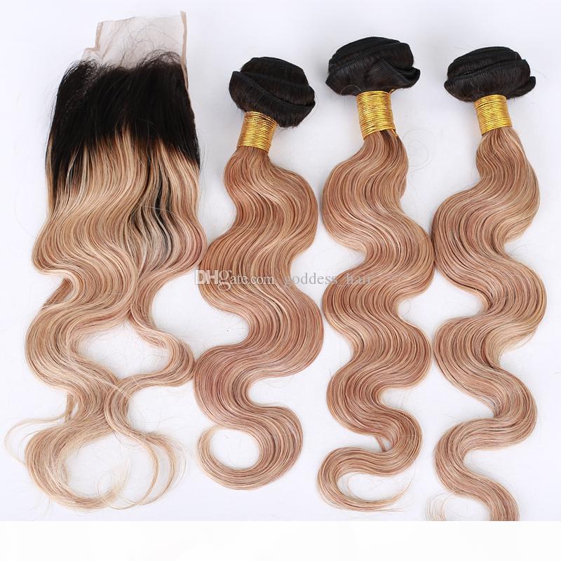 Ombre cor # 1b 27 pacotes de cabelo de onda corporal com fecho de renda cor pura 27 fecho de renda com mel loira extensões de cabelo