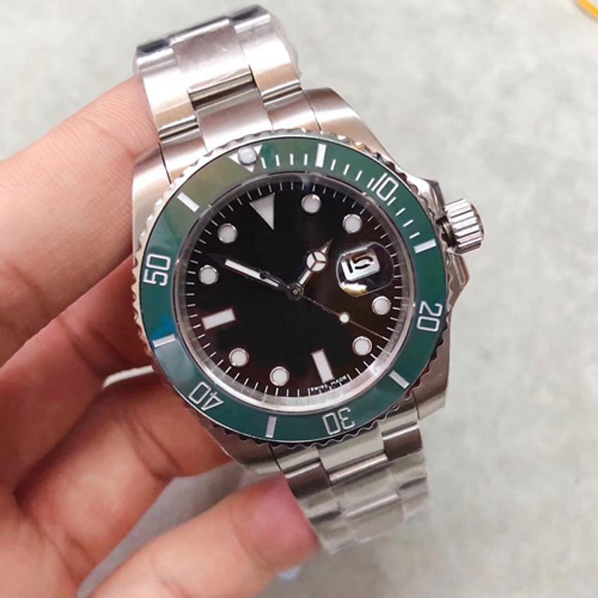 U1 مصنع رجل التلقائي حركة ساعة اليد الإنزلاق قفل 116610LN 116610 الياقوت الزجاج السيراميك الحافة الفولاذ المقاوم للصدأ الرجال ساعات المعصم