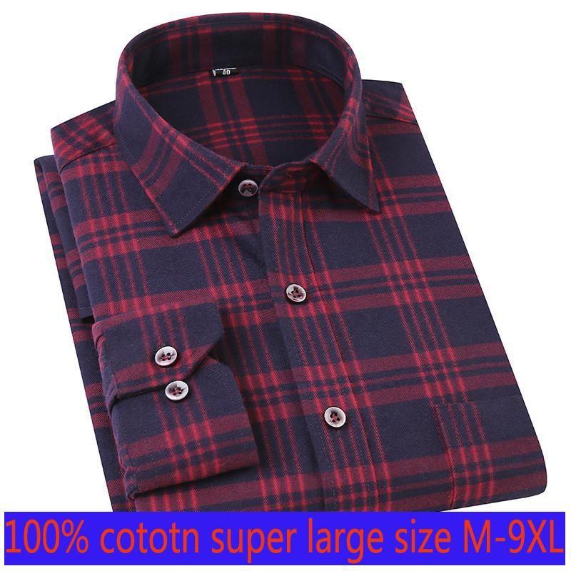 New Arrival Fashion High Quality Spring Cotton Men Long Sleeve Plaid Light Blue Formal Thin Casual Shirts Plus Size M LXL-8XL9XL
