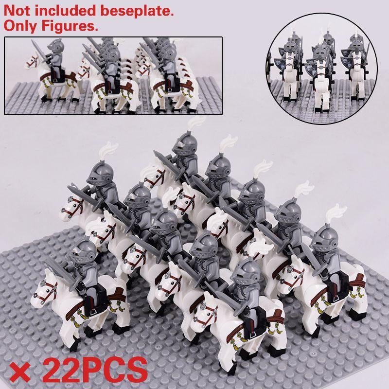 도시 동물 중세 로마 말 사령관 Spartan Knights Moc 장난감 성 빌딩 소년 선물을위한 벽돌 블록 C1114