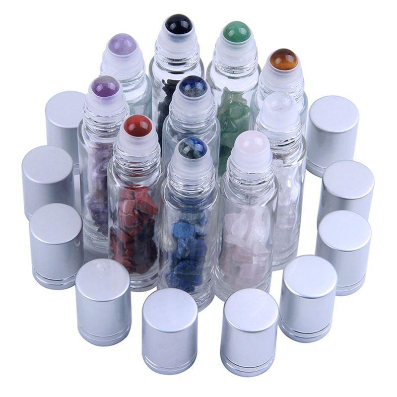 Garrafas de esferas de rolos de óleo essencial de pedras preciosas naturais Líquidos de óleo de perfumes claras de perfumes rolam na garrafa com chips de cristal 12 cores