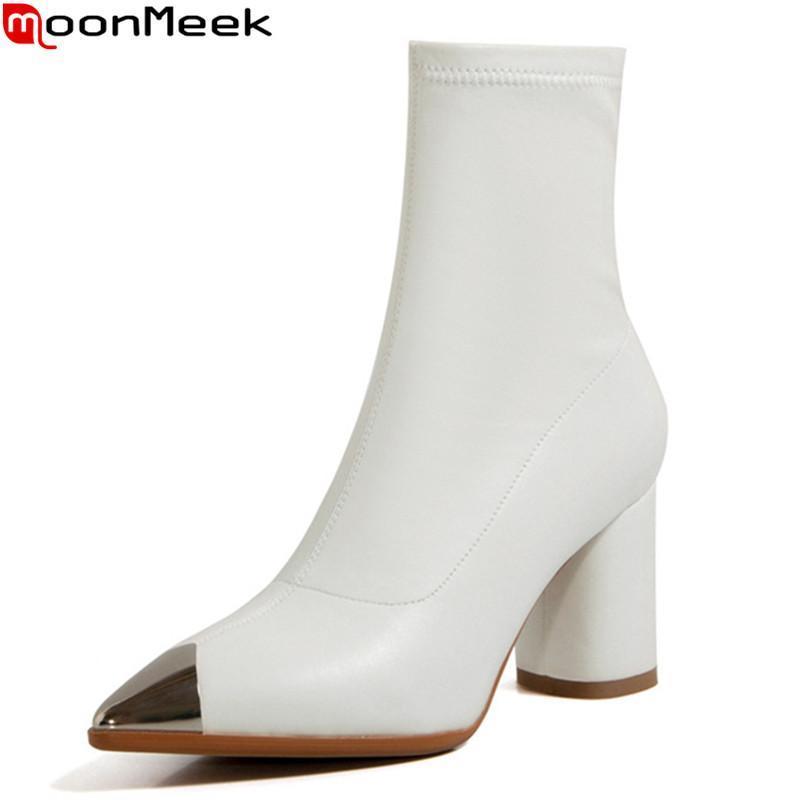 MoonMeek 2020 botas New venda quente tornozelo alta qualidade cores misturadas senhoras sapatos de outono mulheres moda inverno botas pretas brancas arroz