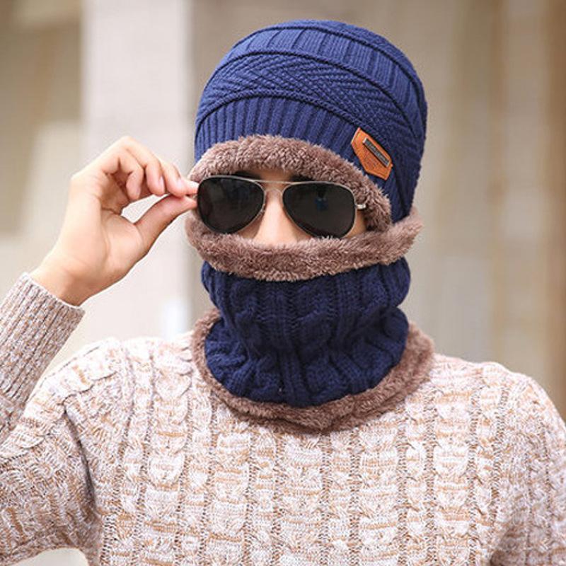 amzon hiver hiver automne homme hommes garçons chauds foulard chapeau ensemble fourrure à l'intérieur de la laine anti-froid extérieur élévateur jack beanie crâne pompon pompon chapeaux