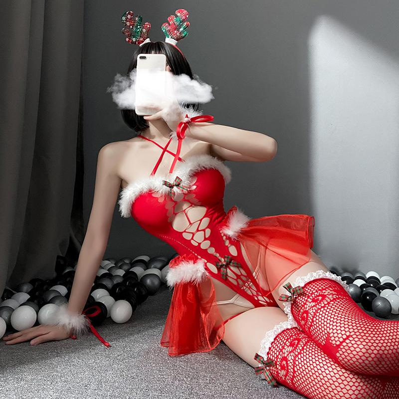 Women Christmas Costumes Lace Hollow Lingerie Dress Santa Claus Cosplay Jumpsuit
