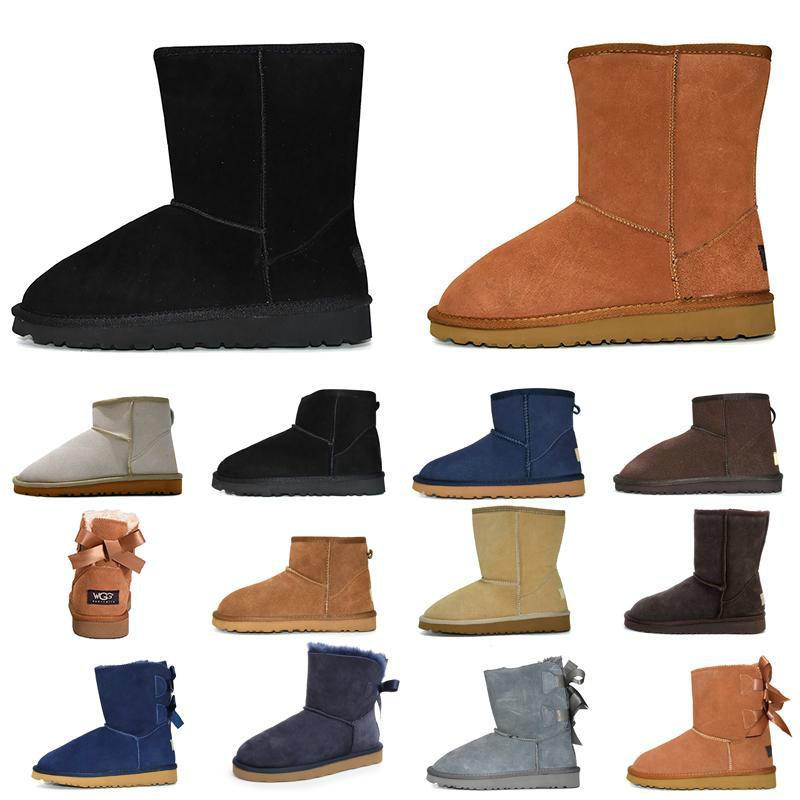 Neue Stiefel Frauen Mädchen klassische Schneeschuhe bowtie der neuen schwarzen Knöchel kurze Bogen Pelzstiefel für den Winter schwarz Kastanie Größe rot 36-41