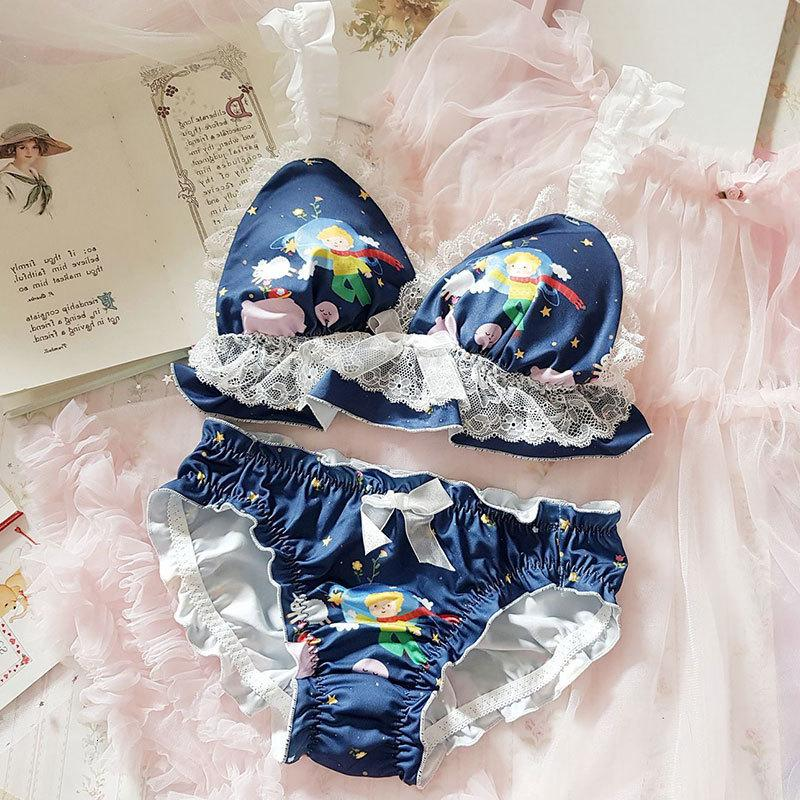 Biancheria intima giapponese della biancheria intima delle donne delle donne mutandine Kawaii Lingerie Lolita Bow Filo di fiocco ultra-sottile Bra e panty set