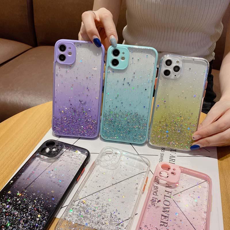 Gradiente Glitter Phone Case para iPhone 12 11 Pro Max XR XS MAX 7 8 mais x Proteção de câmera macia Capa de tampa traseira
