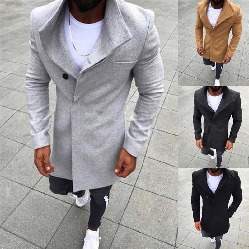 New Fashion Mens Wool Button Solid Color Long Sleeved Windbreaker Wool Coat Men Winter Coat Men Long Trench1