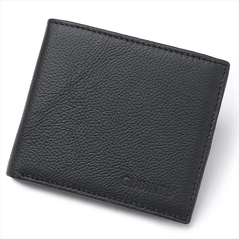 2020 New RFID Genuine Leather Men Wallets Titular de Cartão de Alta Qualidade Carteiras Curtas Marca de Design Simples Sólido para Homens