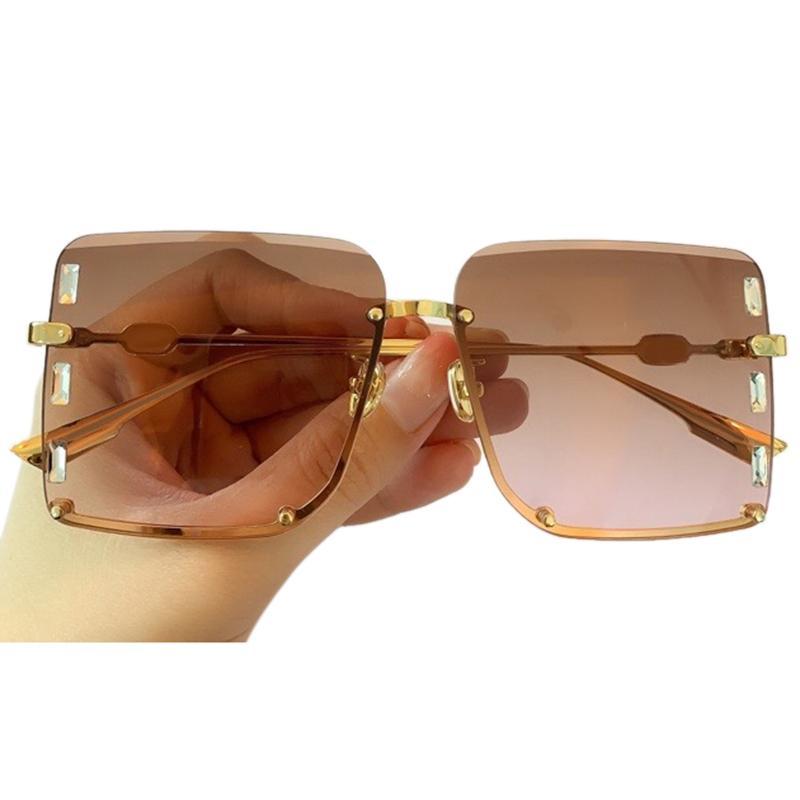 Gafas de sol sin montura Square mujeres nuevas de la manera clásica marca Gradiente Gafas de sol Gafas de sol Uv400