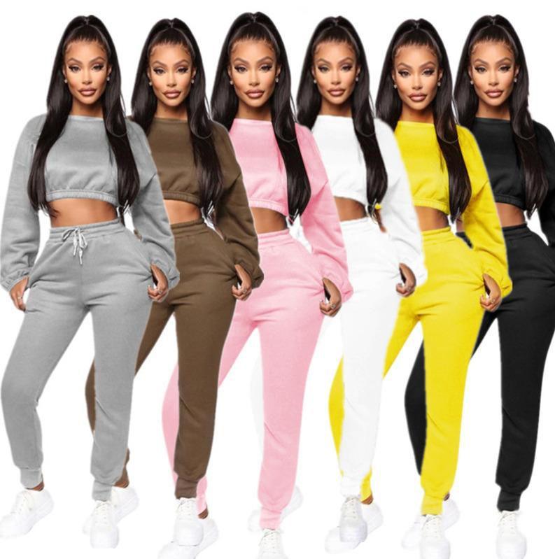 2020 Designer Womens Trainingsanzug Herbst Zwei 2 Stück Outfits Laterne Langarm Top Falten Hosen Damen Neue Mode Hosen Set Sportswear
