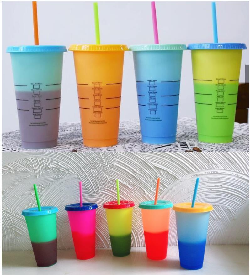 Mudando a cor bebendo quente Nova copo de copos de copos de cores de copos de copos com e palha doces plásticos frios 24oz copo A567 Iuhlb