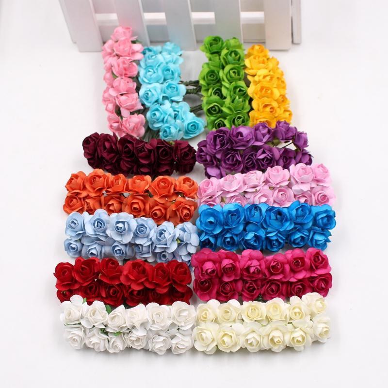 Guirnaldas de flores decorativas 144pcs / lot flor artificial mini papel lindo rosa hecho a mano para decoración de boda DIY Guirnalda Regalo Scrapbooking