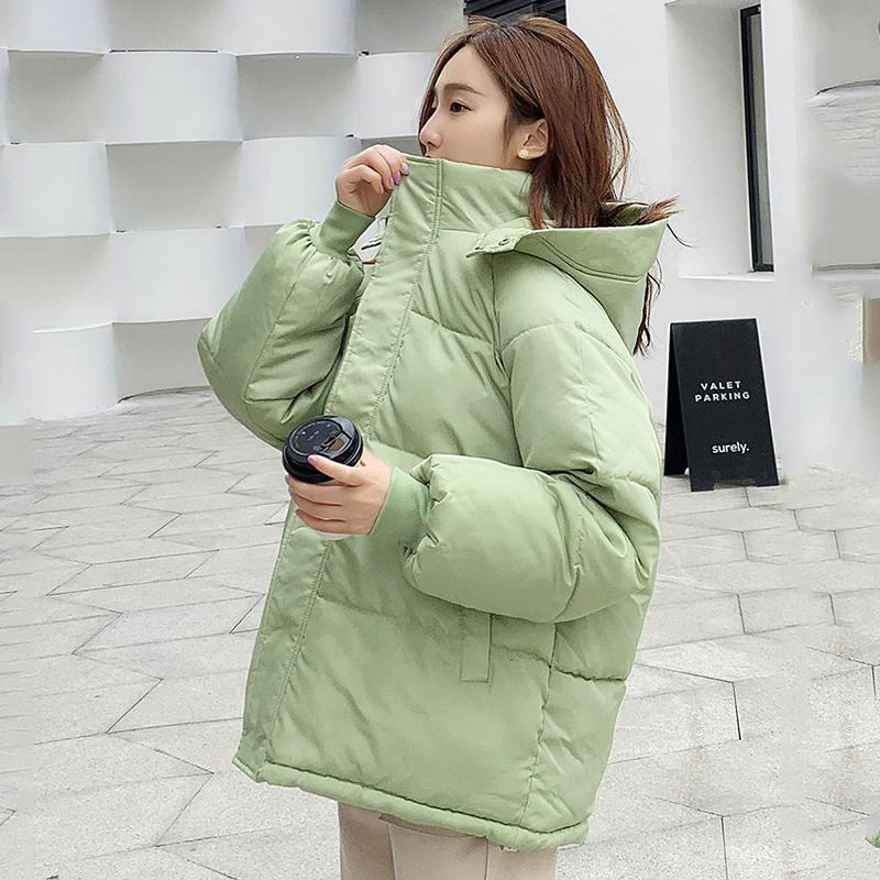 Women Winter Autumn Jacket Cotton Padded Hooded Oversized Loose Female Thick Coat Short Solid Casual Women's Parkas 201016