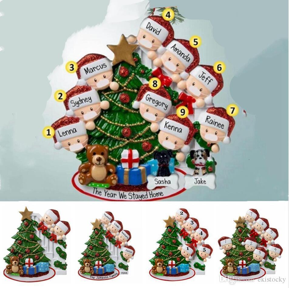 2020 Рождество кулон Семья 2-9 руки Sanitized Xmas Tree DIY Имя Blessing висячие украшения рождественского подарка украшения LJJP576Z7ZC