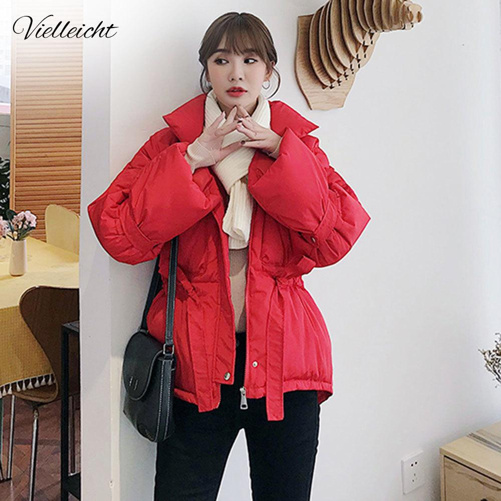 Vielleicht Women Winter Jackets Parkas Fashion Thick Warm Lantern Sleeve Tops Jackets Solid Sweet Winter Coat For Women 201014