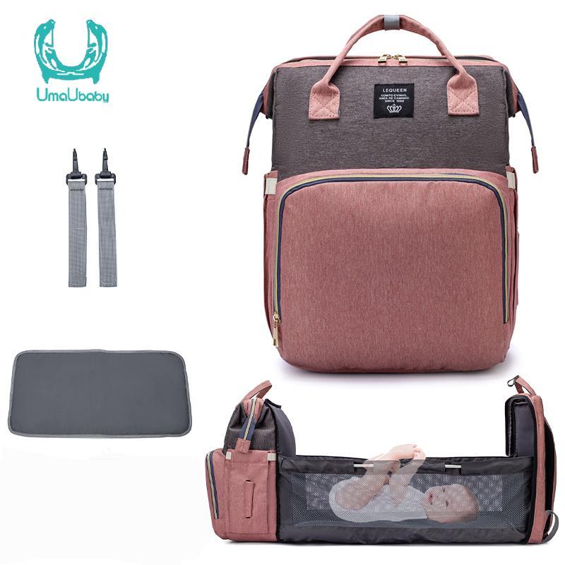Umaubaby New Style portátil Folding Crib Diaper Bag Multi-Function de Grande Capacidade das Mães Mochila 1005