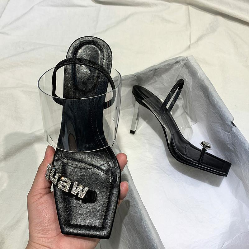 2020New Square Toe Women PVC Sandals Thin High Heels Summer Shoes Crystal Letters Decor Scarpe Donna Sandalias Designer Slippers Y200702