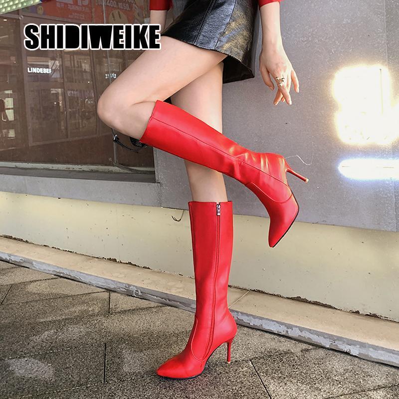 Las mujeres atractivas del alto talón de la rodilla botas altas botas de cuero de la PU de la cremallera de punta estrecha larga de las señoras del otoño invierno zapatos v898