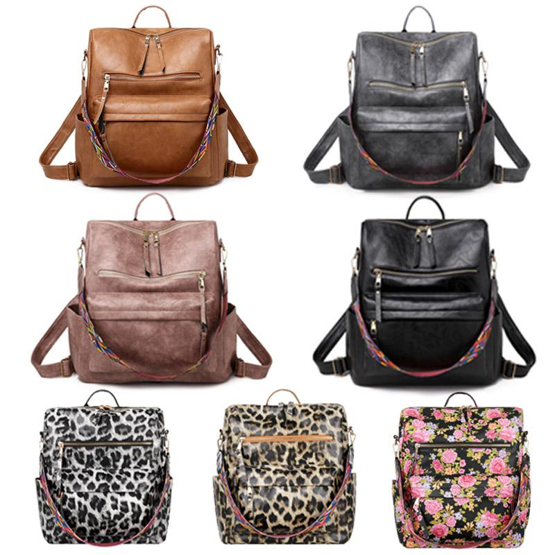 PU Guitar Strap Backpack Brown Faux Leather Shoulder Backpacks 4Colors Girl School Bag DOM1494