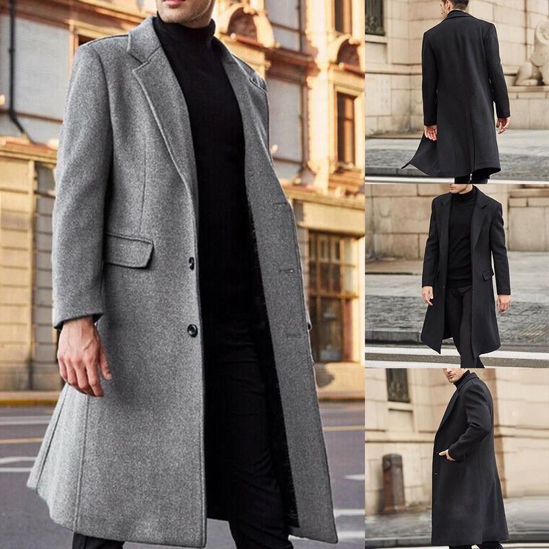 Os homens dos homens misturam homens inverno casacos de lã maciço de manga longa jaquetas de lã sobretudos streetwear moda trincheira outerwear 2021 5xl