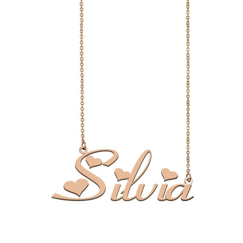 Silvia Namenskette benutzerdefiniertes Typenschild Anhänger für Frauen-Mädchen-Geburtstags-Geschenk für Kinder Beste-Freunde-Schmucksachen 18k Gold überzogener Edelstahl